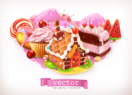 confectionery: Sweet shop. Pink. Confectionery and desserts, cake, cupcake, candy. 3d vector illustration Illustration
