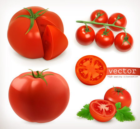 Tomato. Vegetable 3d vector icon set Illustration