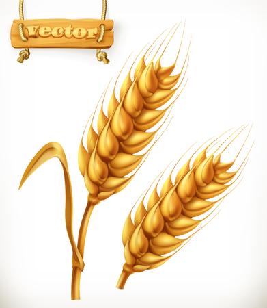 icon 3d: Wheat. 3d vector icon