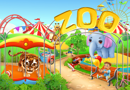 kids fun: Zoo. Kids playground. Amusement park. 3d vector illustration