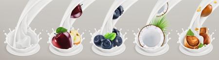 Fruit, berries and yogurt. Realistic illustration.icon set 5.