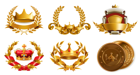 Gold crown and laurel wreath.