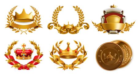 king crown laurel icon round: Gold crown and laurel wreath.