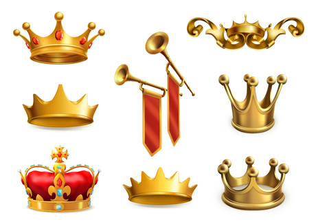 Gold crown of the king icon set in white background. Illustration