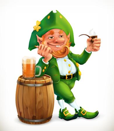Leprechaun and beer. Feast of Saint Patrick  icon.