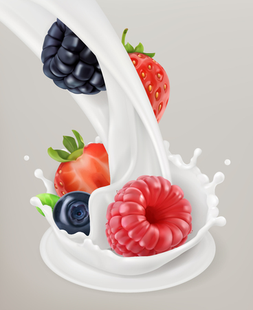 Milk splash and berry. Natural dairy products.