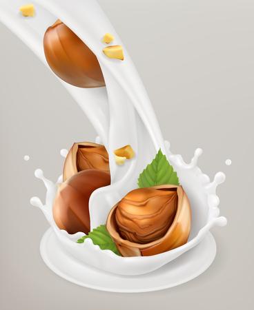 Milk splash and hazelnuts.Natural dairy products Illustration