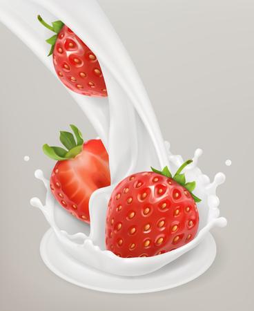 Éclaboussure de lait et fraise. Objet 3D. Produits laitiers naturels Vecteurs