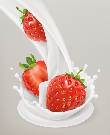 Milk splash and strawberry. 3d object. Natural dairy products