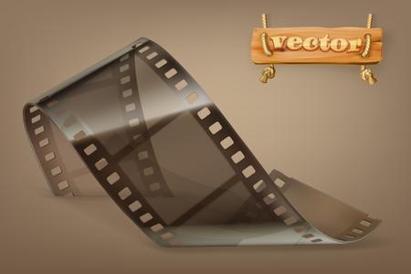 透明な古いフィルムのストリップ。  イラスト・ベクター素材