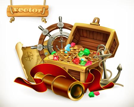 Pirate treasure. Adventure vector illustration