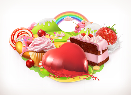 Sweet heart. Confectionery and desserts, vector illustration Illustration