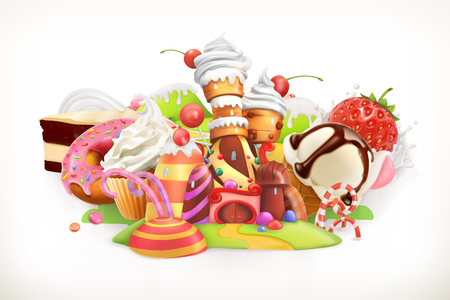 Sweet shop. Confectionery and desserts, 3d illustration