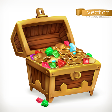 Treasure chest. Gems and gold coins.