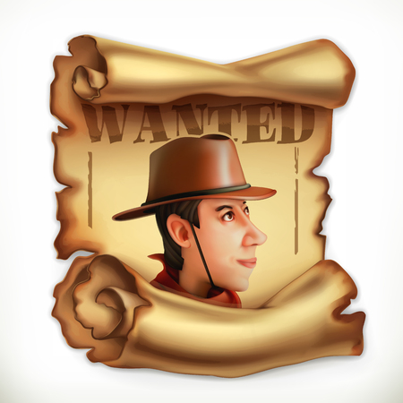 Wanted cowboy. Old paper scroll.