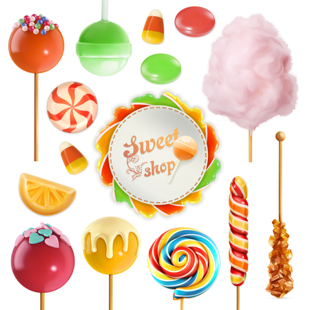 Candy set. Swirl caramel. Cotton candy. Sweet lollipop. 3d vector icon Stock Vector - 88047475