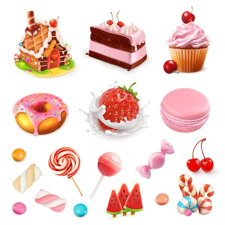 Confitería y postres. Fresa y leche, torta, magdalena, caramelo, piruleta. Conjunto de iconos de vector rosa 3d