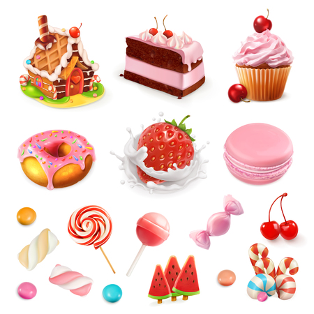 Confectionery and desserts. Strawberry and milk, cake, cupcake, candy, lollipop. Pink 3d vector icon set