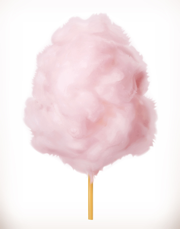 Cotton candy. Sugar clouds. 3d vector icon. Realistic illustration Ilustração