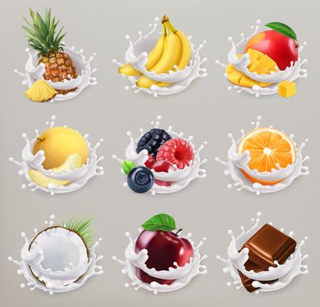 Fruit, bessen en yoghurt. Mango, banaan, ananas, appel, sinaasappel, chocolade, meloen, kokosnoot. 3D-vector pictogrammenset 2