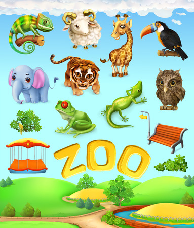 Funny animal set. Elephant, giraffe, tiger, chameleon, toucan, owl, sheep, frog. Zoo 3d vector icon set