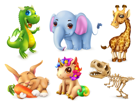 Funny animal set. Happy bunny, rabbit, cute unicorn, small dragon, baby elephant, giraffe, dinosaur. 3d vector icon Vettoriali