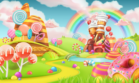 Sweet candy land. Cartoon game background. 3d vector illustration Reklamní fotografie - 88548317