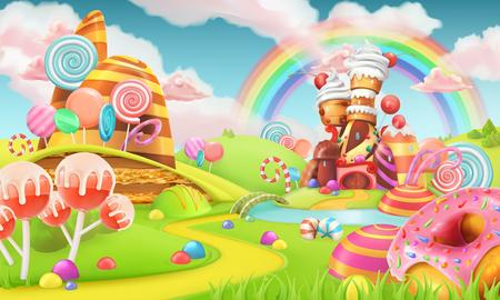 Terre de bonbons Sweet. jeu Cartoon fond. 3d illustration vectorielle Banque d'images - 88548317