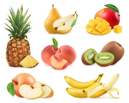 Sweet fruit. Banana, pineapple, apple, mango, kiwi fruit, peach, pear. Whole and pieces. Realistic illustration. 3d vector icons set Illustration