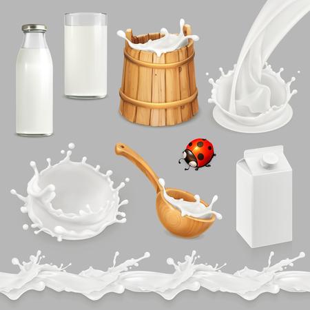 Mleko. Butelka, szklanka, łyżka, wiaderko. Krople wzór. Naturalne produkty mleczne. Zestaw obiektów wektorowych 3D