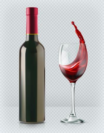 Fles wijn en wijnglas. Rode plons. 3D-realisme, vector pictogram met transparantie Stock Illustratie