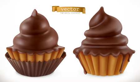 Chocolate cupcake, fairy cake. 3d realistic vector icon Illustration
