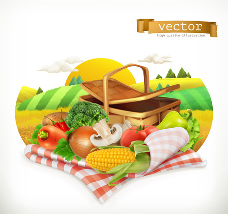 Farm and harvest, realistic vegetables. Corn, tomato, onions, pepper, carrot, lettuce, parsley. Isolated 3d vector icon Illustration
