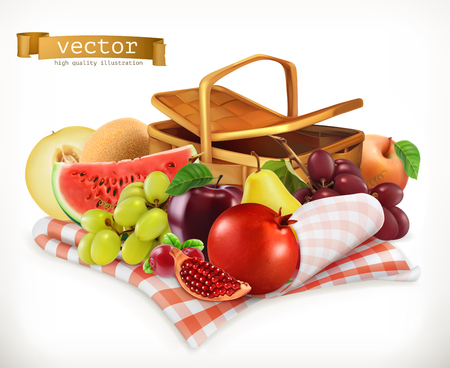 Harvest fruits and berries. Pomegranate, apple, pear, grapes, watermelon, melon. Realistic 3d vector icon Illustration