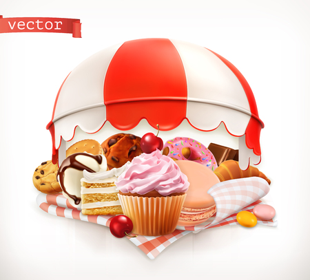 Pastry shop, confectionery. Sweet dessert. Cake, cupcake, donut, whipped cream, cookies. 3d realistic vector Illustration