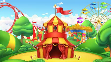 Circus tent in Amusement park vector landscape.
