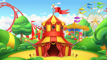 Circus tent in Amusement park vector landscape.