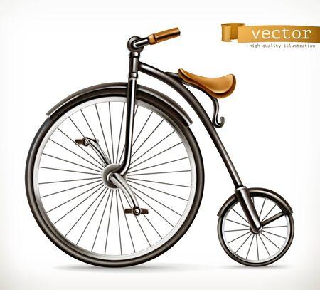 Bicycle retro. 3d vector icon.