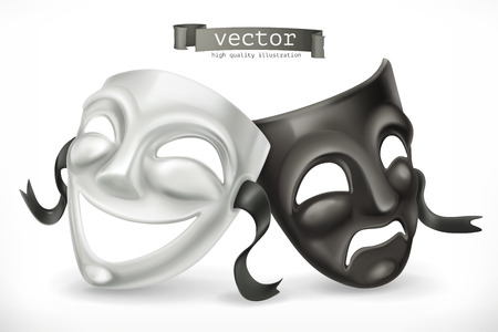 Black and white theatrical masks. Comedy and tragedy, 3d vector icon. Иллюстрация