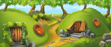 Fairy Tale Village. Leprechaun house. Nature landscape vector illustration. Illustration