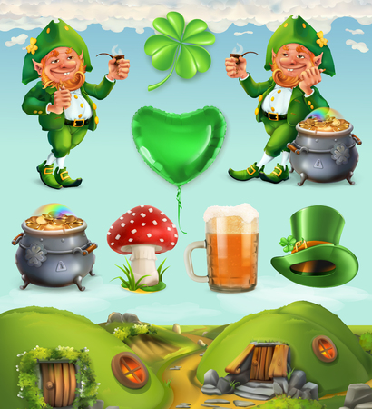 Feast of Saint Patrick. Fairy Tale Village. Leprechaun house 3d vector icon set. Illustration