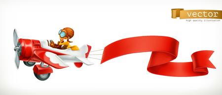 Grappig vliegtuig met rode banner, 3d vectorbeeldverhaal dat op witte achtergrond wordt geïsoleerd.