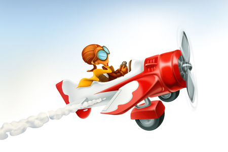 Funny airplane, 3d vector cartoon isolated on white background.