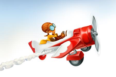Zabawny samolot, kreskówka wektor 3d na białym tle. Ilustracje wektorowe