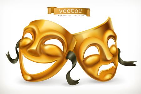 Maschere teatrali d'oro. Commedia e tragedia, icona di vettore 3d. Vettoriali