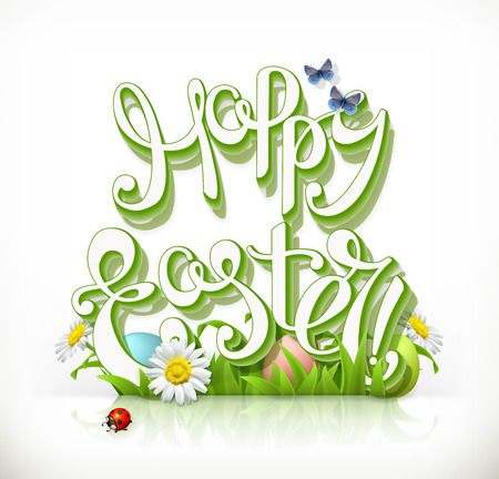 Happy Easter lettering and spring grass. 3d vector icon. Illustration