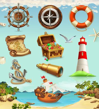 Insieme del marinaio, icone di vettore di vacanze estive 3d Archivio Fotografico - 92869895