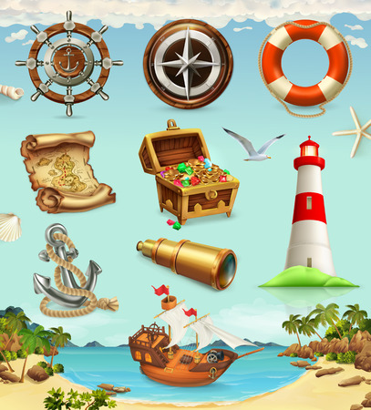 Marine set, summer vacation 3d vector icons