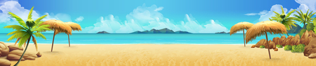 Sea panorama, Tropical beach. Vector background  イラスト・ベクター素材
