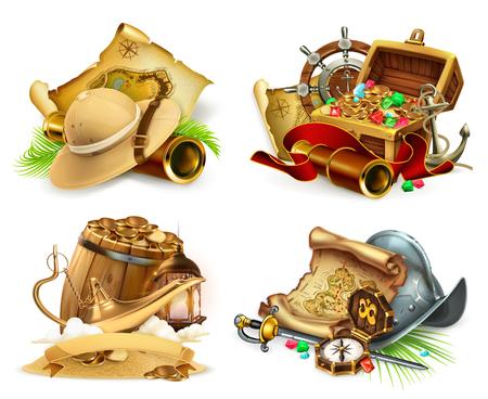 Treasure hunt and adventure, game icon. 3d vector icon set Stock Illustratie